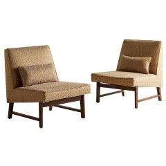 Pair of Edward Wormley for Dunbar Mahogany Slipper Chair