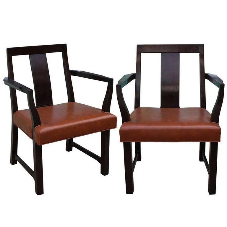 Pair of Edward Wormley for Dunbar Mid-Century Modern Armchairs
