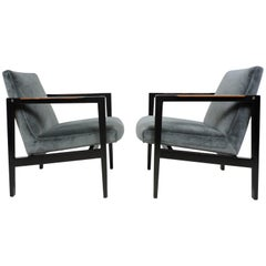 Pair of Edward Wormley for Dunbar Mid-Century Modern Lounge Armchairs