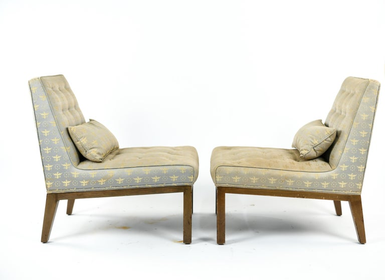 Pair of Edward Wormley for Dunbar Slipper Chairs For Sale 4