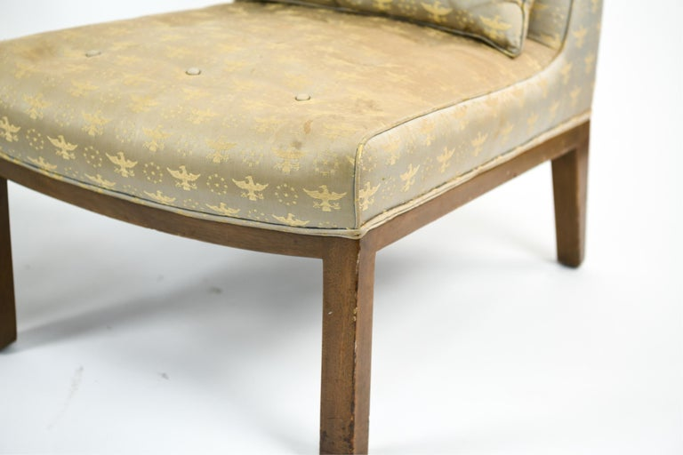 Feel truly presidential with this elegant pair of chairs from the White House. Designed by Edward Wormley for Dunbar, circa 1950s. Labeled underneath; Dunbar. Bernie, Indiana. Upholstered in a stunning patriotic pattern.