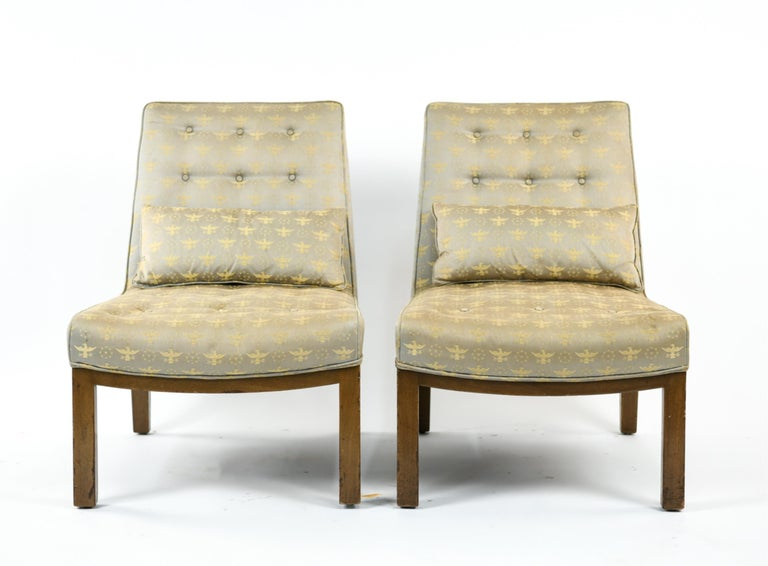 Wood Pair of Edward Wormley for Dunbar Slipper Chairs For Sale