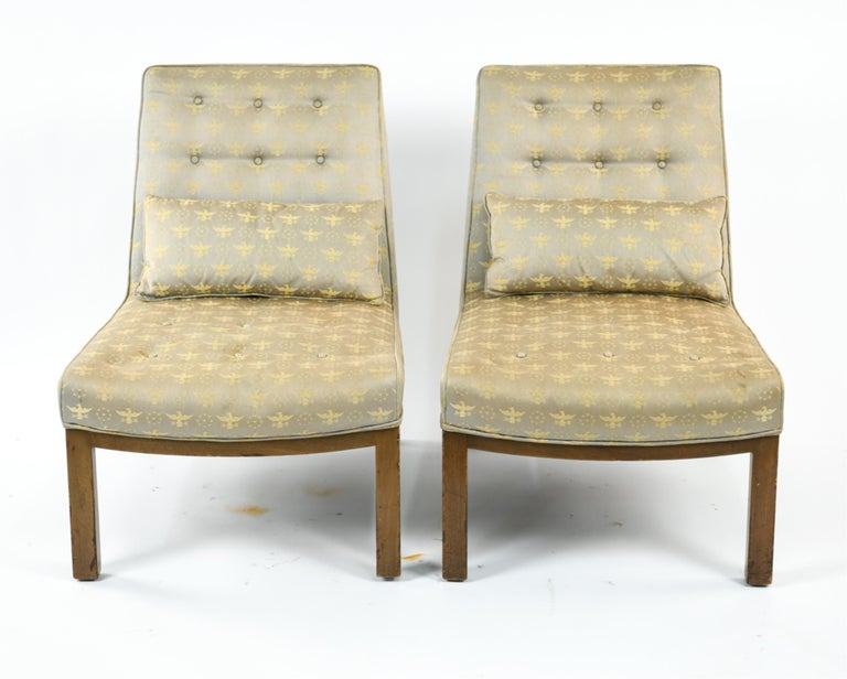 Pair of Edward Wormley for Dunbar Slipper Chairs For Sale 1