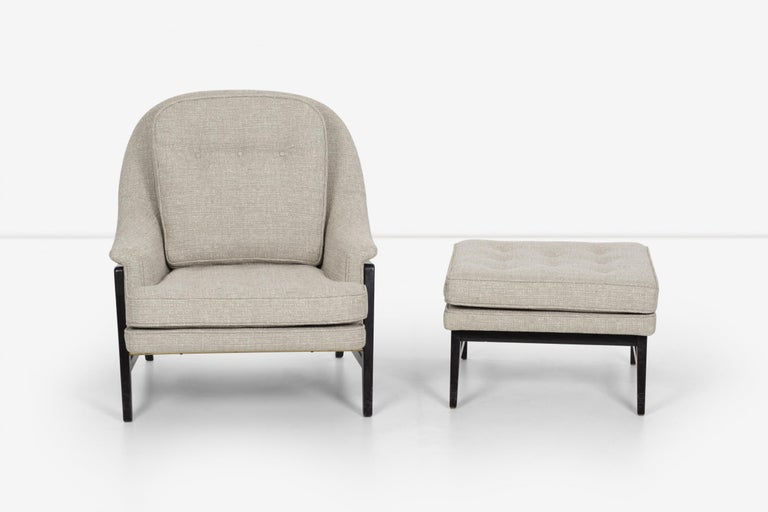 Pair of Edward Wormley Janus Collection Lounge Chairs and Ottomans for Dunbar For Sale 3