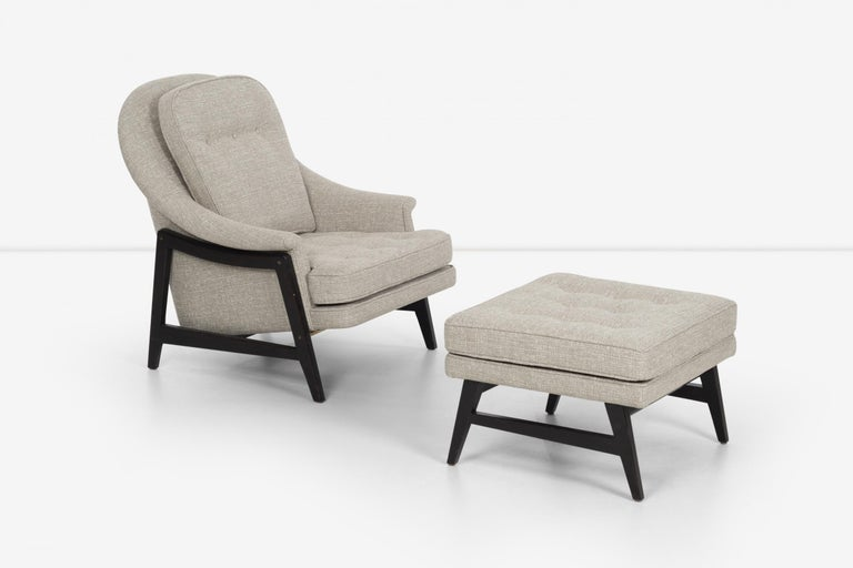 Pair of Edward Wormley Janus Collection Lounge Chairs and Ottomans for Dunbar For Sale 4