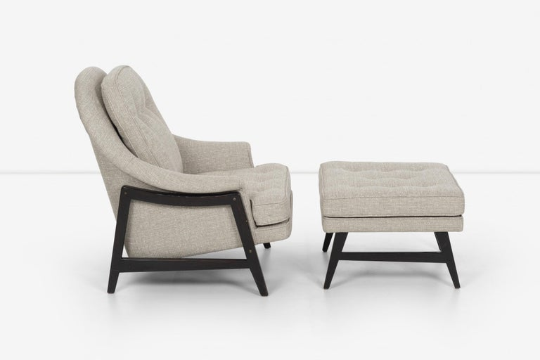 Pair of Edward Wormley Janus Collection Lounge Chairs and Ottomans for Dunbar For Sale 5