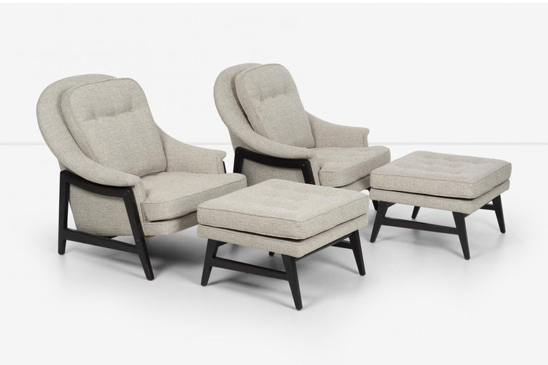 Pair of Edward Wormley Janus Collection Lounge Chairs and Ottomans for Dunbar For Sale 7