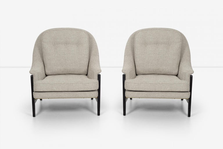 Mid-Century Modern Pair of Edward Wormley Janus Collection Lounge Chairs and Ottomans for Dunbar For Sale