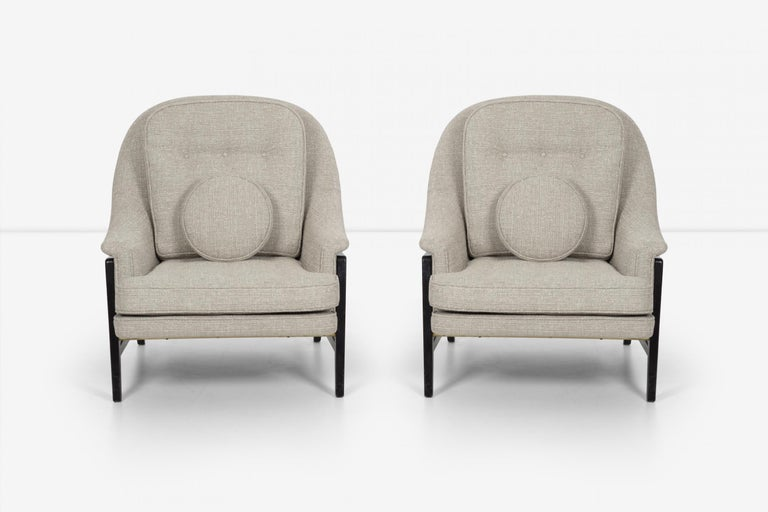 American Pair of Edward Wormley Janus Collection Lounge Chairs and Ottomans for Dunbar For Sale