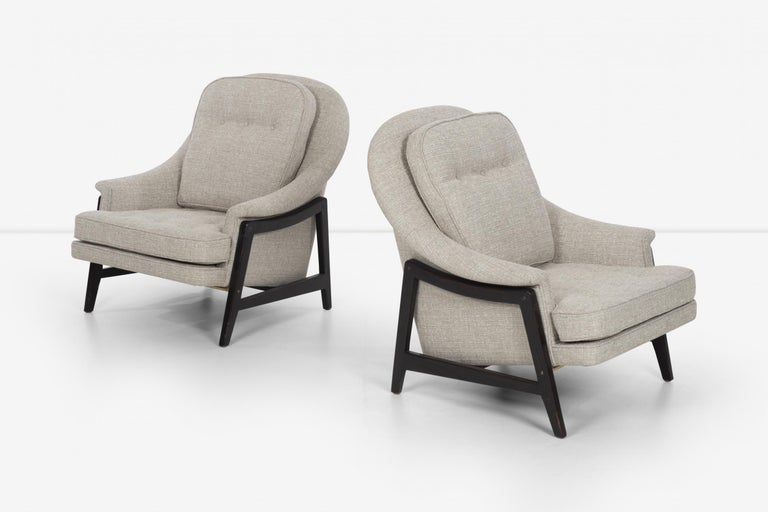 Pair of Edward Wormley Janus Collection Lounge Chairs and Ottomans for Dunbar In Good Condition For Sale In Chicago, IL