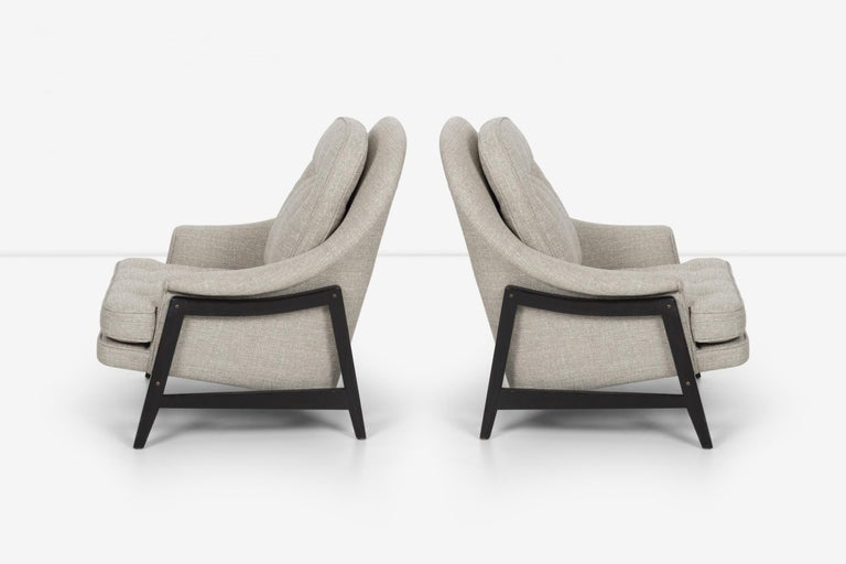 Mid-20th Century Pair of Edward Wormley Janus Collection Lounge Chairs and Ottomans for Dunbar For Sale