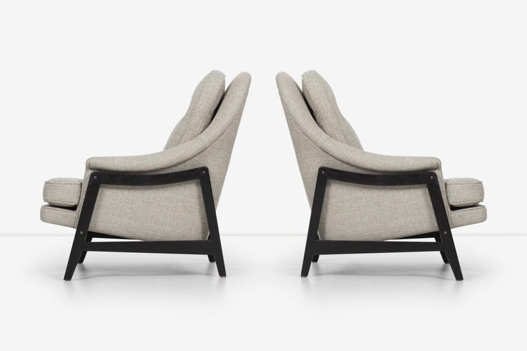 Upholstery Pair of Edward Wormley Janus Collection Lounge Chairs and Ottomans for Dunbar For Sale