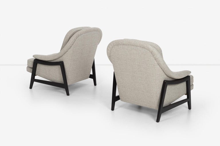 Pair of Edward Wormley Janus Collection Lounge Chairs and Ottomans for Dunbar For Sale 1