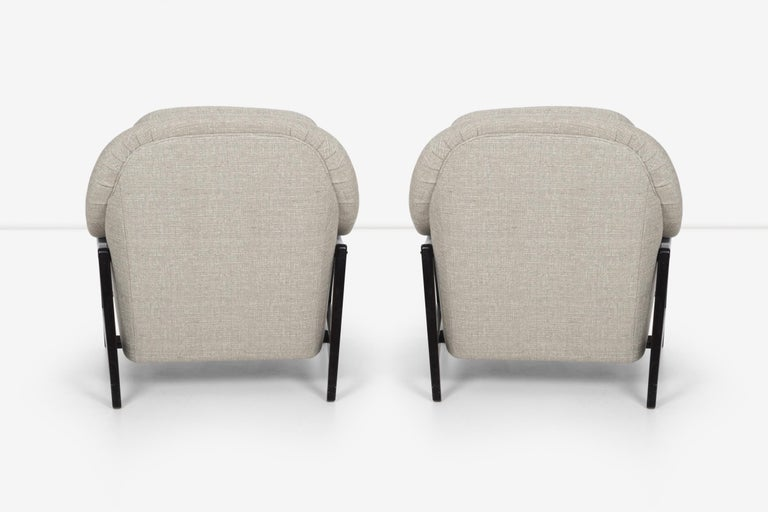 Pair of Edward Wormley Janus Collection Lounge Chairs and Ottomans for Dunbar For Sale 2