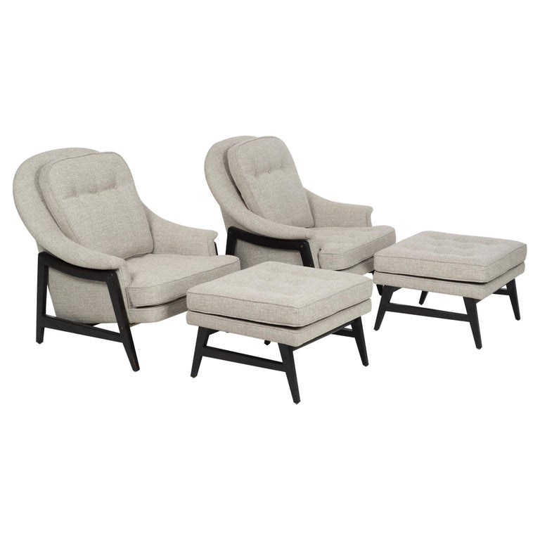Pair of Edward Wormley Janus Collection Lounge Chairs and Ottomans for Dunbar For Sale