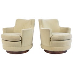 Pair of Edward Wormley Model 4626 Swivel Lounge Chairs