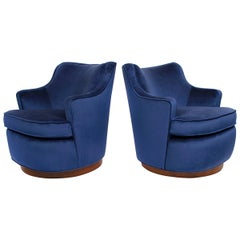 Pair of Edward Wormley Swivel Chairs for Dunbar in Blue Velvet
