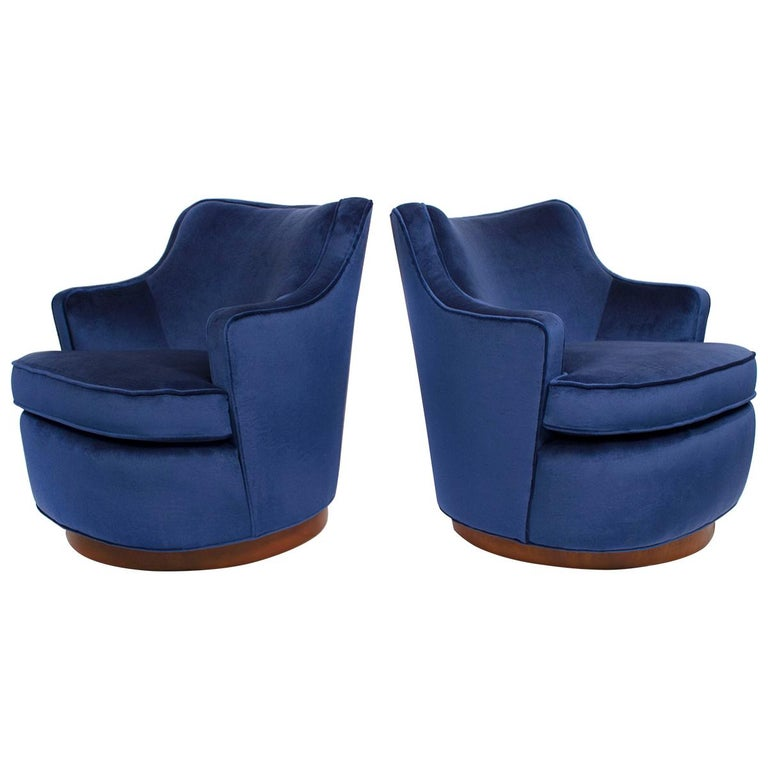 Pair of Edward Wormley Swivel Chairs for Dunbar in Blue Velvet For Sale