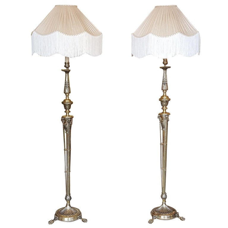 Pair of Edwardian Adam Style Brass Lamp Standards For Sale