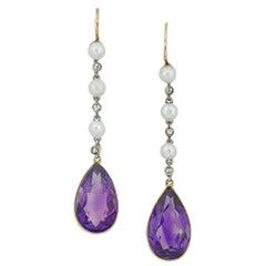 Pair of Edwardian Amethyst and Pearl Drop Earrings