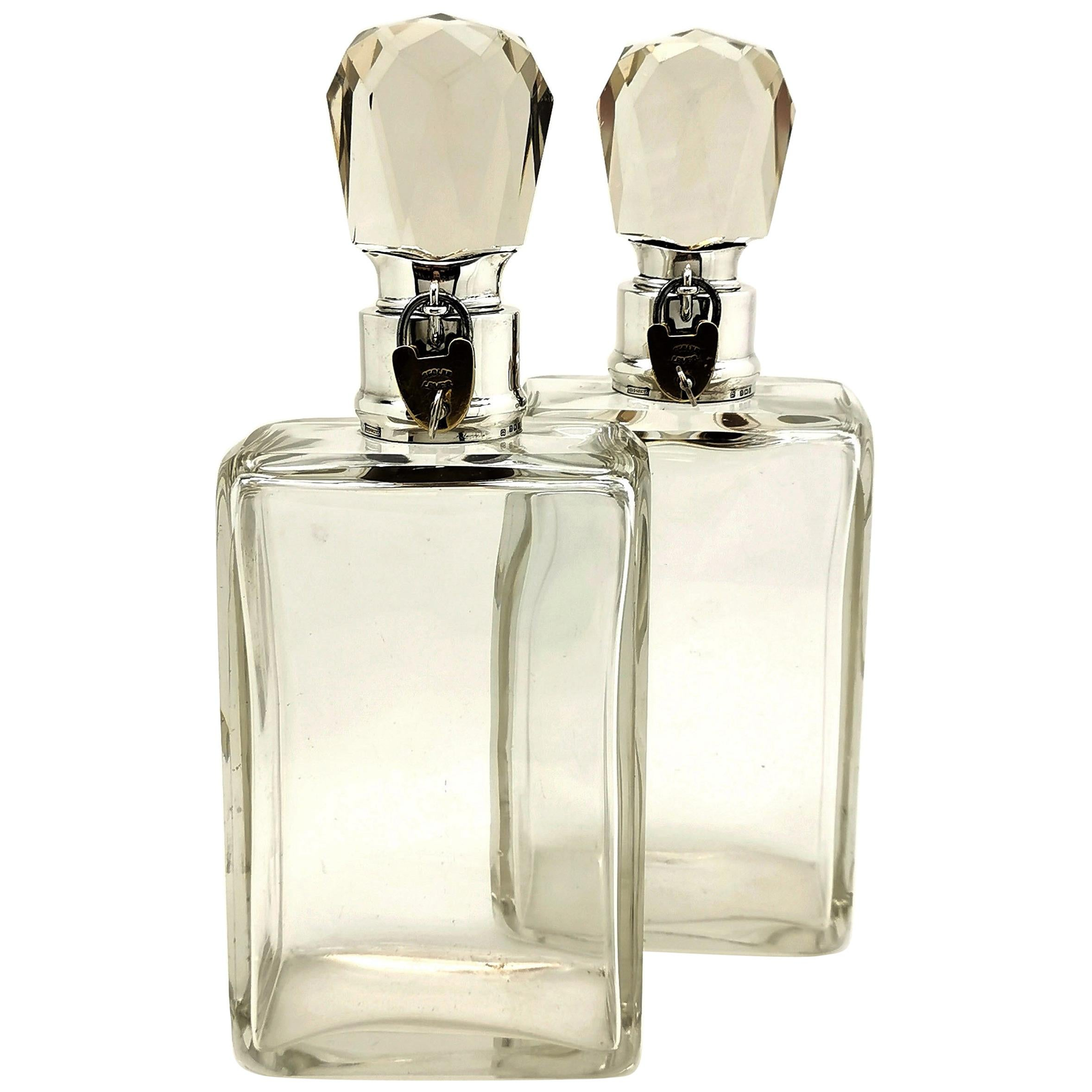 Pair of Edwardian Antique Sterling Silver and Glass Lockable Decanters 1907