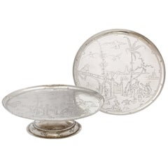 Pair of Edwardian Chinoiserie-Style Sterling Silver Cake Stands by Crichton