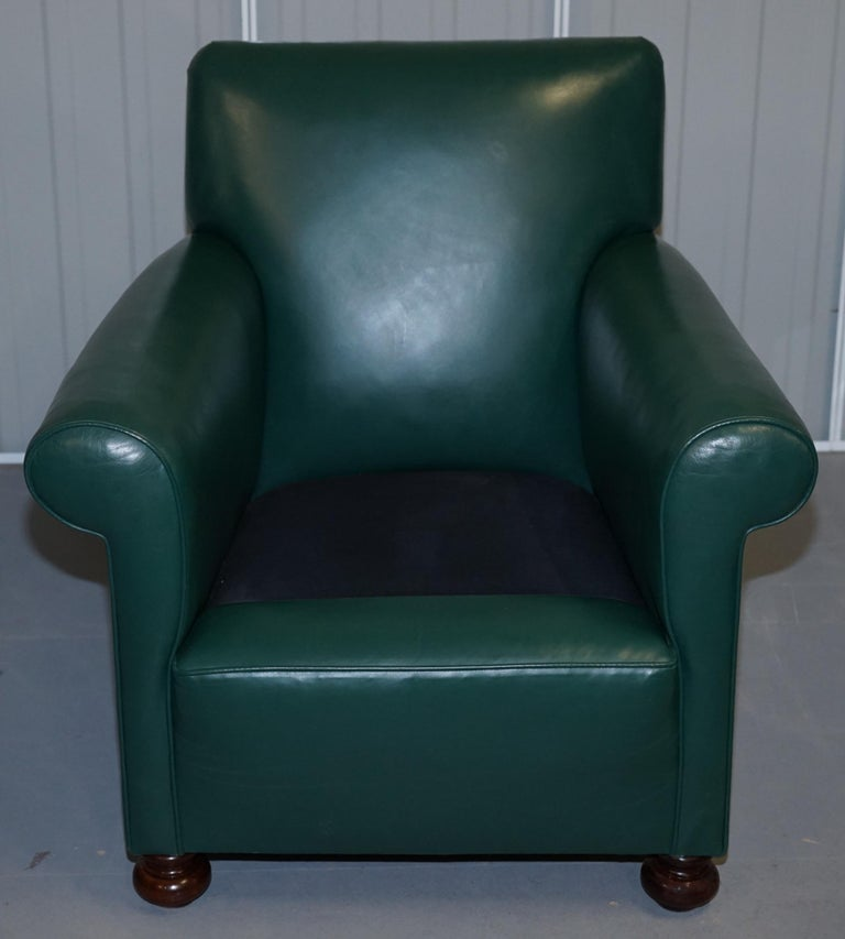 Pair of Edwardian circa 1910 Soft Green Leather Feather Filled Cushion Armchairs For Sale 5