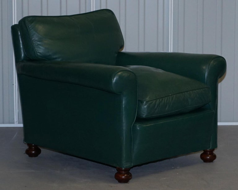 Pair of Edwardian circa 1910 Soft Green Leather Feather Filled Cushion Armchairs For Sale 6