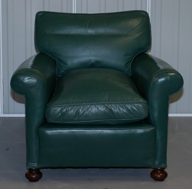 Pair of Edwardian circa 1910 Soft Green Leather Feather Filled Cushion Armchairs For Sale 7