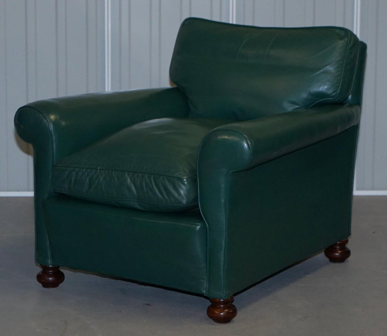 Pair of Edwardian circa 1910 Soft Green Leather Feather Filled Cushion Armchairs For Sale 8