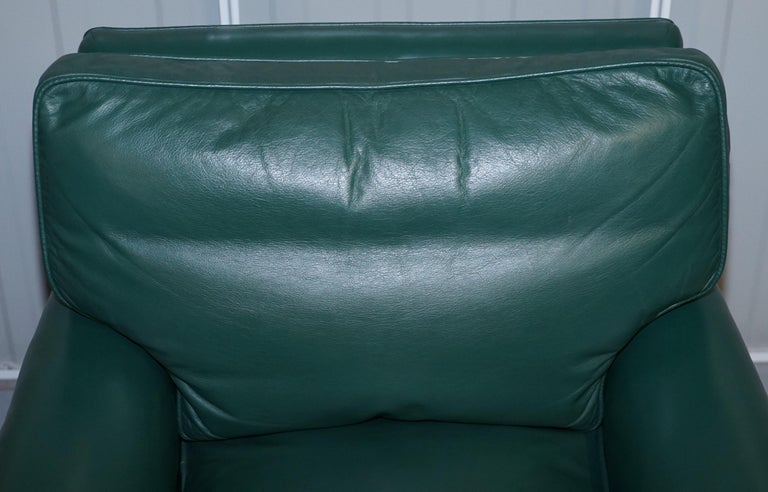 Pair of Edwardian circa 1910 Soft Green Leather Feather Filled Cushion Armchairs For Sale 9
