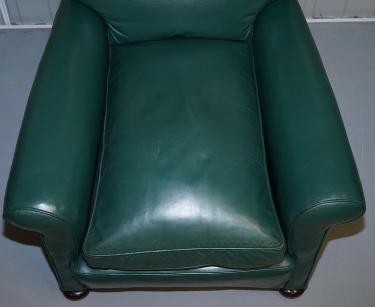Pair of Edwardian circa 1910 Soft Green Leather Feather Filled Cushion Armchairs For Sale 10