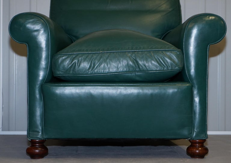 Pair of Edwardian circa 1910 Soft Green Leather Feather Filled Cushion Armchairs For Sale 11