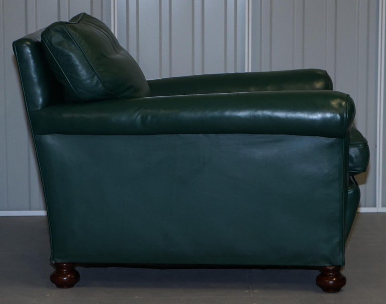 Pair of Edwardian circa 1910 Soft Green Leather Feather Filled Cushion Armchairs For Sale 12