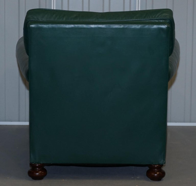 Pair of Edwardian circa 1910 Soft Green Leather Feather Filled Cushion Armchairs For Sale 13