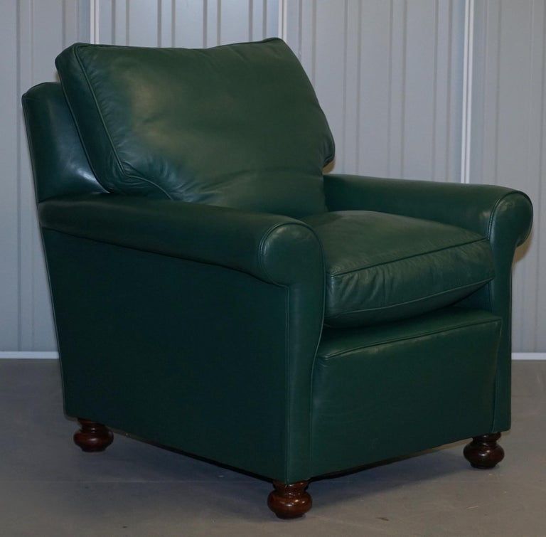 """We are delighted to offer for sale this stunning pair of Edwardian circa 1910 soft green leather """"his and hers"""" club armchairs with feather filled cushions  A very nice and comfortable pair of 110+ year old armchairs. The green leather upholstery"""