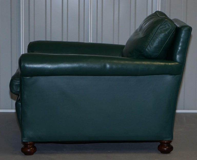 Pair of Edwardian circa 1910 Soft Green Leather Feather Filled Cushion Armchairs For Sale 14