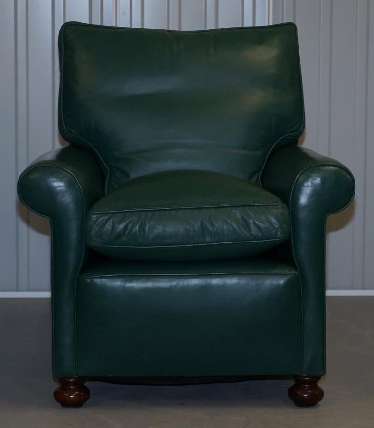 English Pair of Edwardian circa 1910 Soft Green Leather Feather Filled Cushion Armchairs For Sale