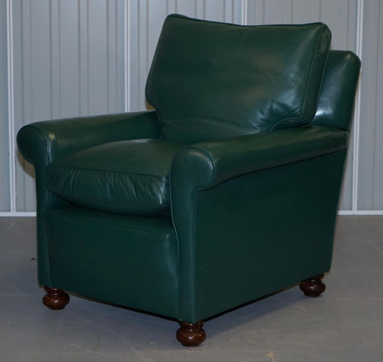 Hand-Crafted Pair of Edwardian circa 1910 Soft Green Leather Feather Filled Cushion Armchairs For Sale