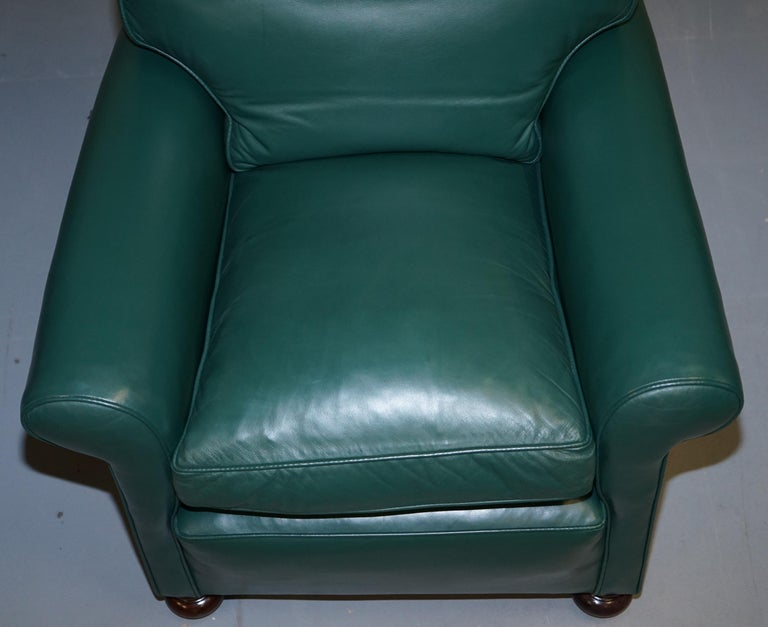 Early 20th Century Pair of Edwardian circa 1910 Soft Green Leather Feather Filled Cushion Armchairs For Sale