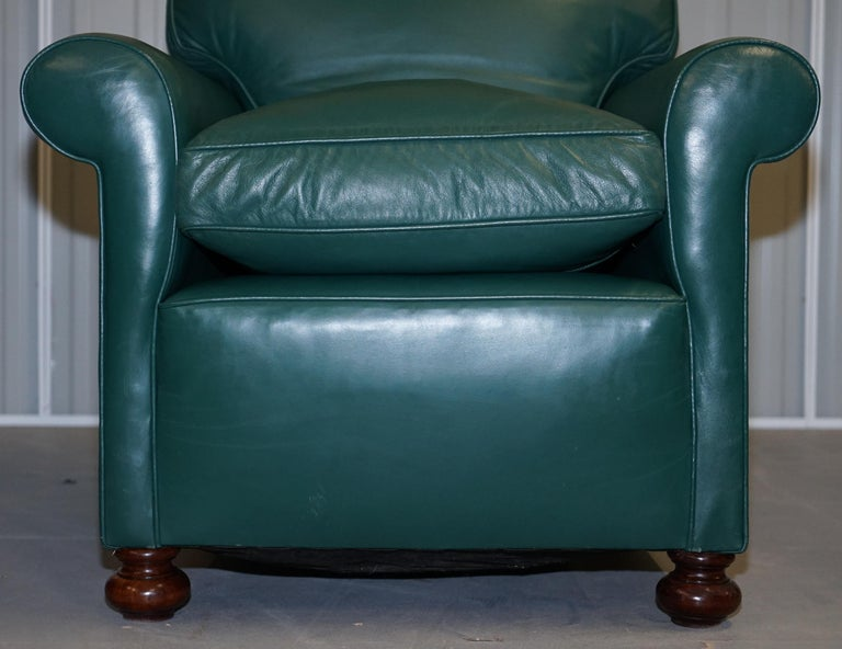 Pair of Edwardian circa 1910 Soft Green Leather Feather Filled Cushion Armchairs For Sale 1
