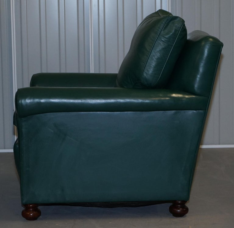 Pair of Edwardian circa 1910 Soft Green Leather Feather Filled Cushion Armchairs For Sale 2