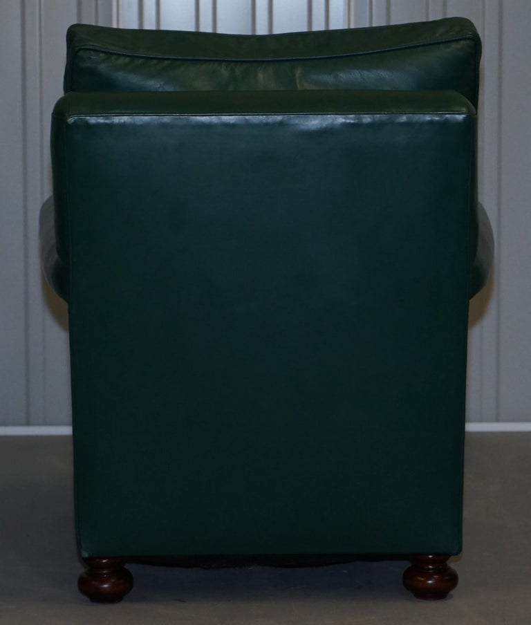 Pair of Edwardian circa 1910 Soft Green Leather Feather Filled Cushion Armchairs For Sale 3