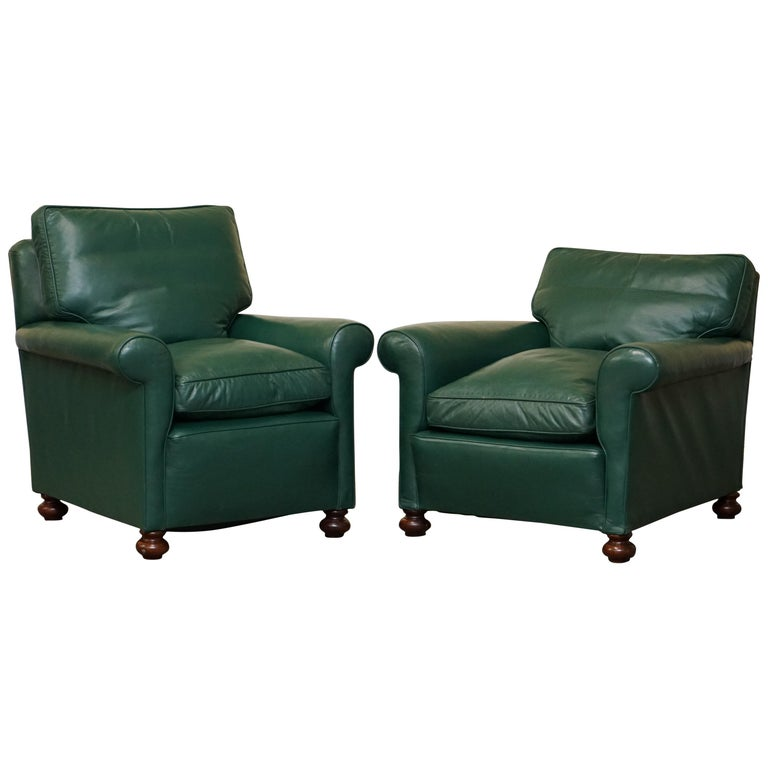 Pair of Edwardian circa 1910 Soft Green Leather Feather Filled Cushion Armchairs For Sale