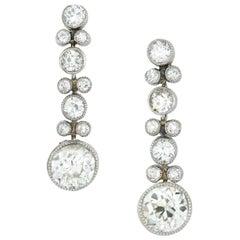 Pair of Edwardian Diamond Drop Earrings