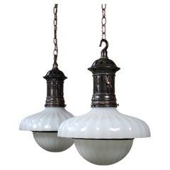 Pair of Edwardian Doriclite Moonstone Opaline Glass Jefferson Pendants Lights