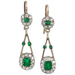 Pair of Edwardian Emerald and Diamond Earrings