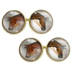 Pair of Edwardian Essex Crystal Horse Cufflinks