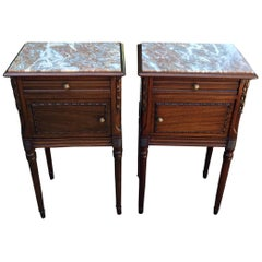 Pair of Edwardian French Mahogany Bedside Tables