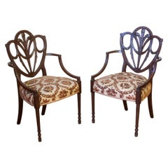 Pair of Edwardian Hepplewhite Style Mahogany Armchairs